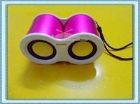 Free Shipping 2Pcs/Lot Mini Telescope MP3 Stereo Speaker Box With TF Card Slot USB Interface FM Radio