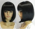 Short straight black Straight bangs women wig  Lady Mother Fashion Fiber Women's virgin Hair Accessories wigs
