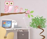 New Design! pink Owl and branch Paper Stickers,34*48cm ,House stickers, wall decal decoration Necessity,DG036,10pcs