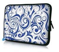 "Blue Swirl 15"" inch Waterproof Laptop Soft Neoprene Bag Sleeve Case Pouch Holder For 15.5"" 15.6"" HP DELL ACER SONY"