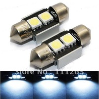 Freeshipping 24months warranty  festoon 2smd 10pcs/Lot T10 2 SMD 5050 LED Canbus  Error Indicator Light Car Interior Lamp