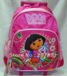 Free Shipping ! Fashion Dora The Explorer Trolley Bag Children Cartoon School Bag A0216 on Sale Wholesale & Drop Shipping(China (Mainland))