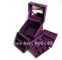 Retail 2013 newest design fashion Jewelry display Box  Free shipping Velet Jewelry Storage case  Jewelry carry box