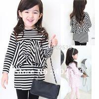 Free Shipping  5sets/lot Girls long sleeve stripe dress, Children Clothes