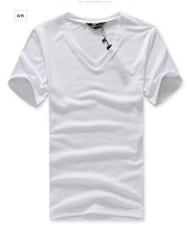 White Plain t shirts  MEN short v-neck T-shirt for men