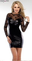 Free shipping,women sexy leather look dress,dark tight dress,sexy leather clubwear