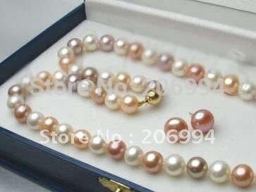 "handmade 7-8mm Freshwater White Pink Purple Pearl Necklace Earrings set 18''"" free shipping fashion jewelry set(China (Mainland))"