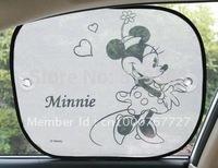 2pcs  Minnie grau Cartoon  Auto Car Window Sun Shade See-through Solar Protection Summer Cool Adiabatic Mixed Wholesale
