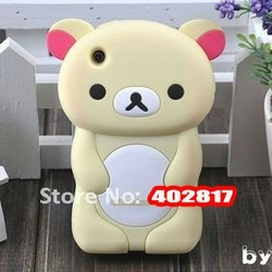 Promotion 50pcs/lot 2012 Hot Selling Cute Soft Silicone Skin Case Cover 3D Rilak kuma Bear For iphone 3G 3GS,DHL free shipping(China (Mainland))