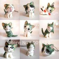 Free Shipping Cute cat phone chain, Sweet cat mobile phone strap, Mobile phone pendant, Opp bag 8g 9pcs/lot