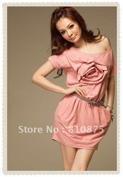 Rose Elastic Wasit Double Pockets Pink Dress  HG128673