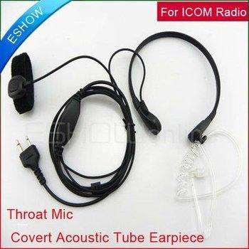 Throat Mic Air Tube Headset for ICOM F3 V8 F21BR Maxon Walkie talkie two way CB Ham Radio C0011A Eshow