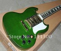 green metallic SG gold hardware 3 pickups Electric guitar Free shipping