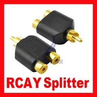 DHL Free Shipping New RCA AV Audio Y Splitter Gold Plug 1 Male to 2 Female Adapter