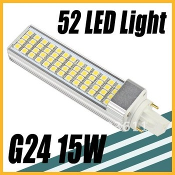 Free shipping 15W 52 LED SMD 5050 Cool White Light Bulb Lamp 220V G24 New