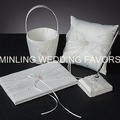 Minling Wedding Favors,Satin Lace Ring Pillow +Basket+ Guest Book +Pen --#12