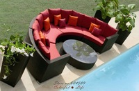Top Sale Arc-shaped E Rattan Sofa With Tea Table,YSF-N029,OEM
