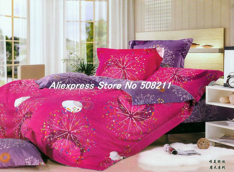 Wholesale,Cotton 4 pcs King bed linen Blooming Flower Roseo and Purple floral pattern printed comforter covers in a bag sets(China (Mainland))