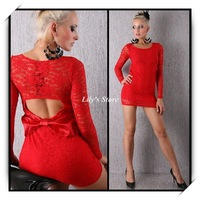 2013 New Fashion Women Long Sleeves Lace Backless Party Dress Club Wear One Size YL2240r,Red