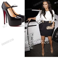 Hot Luxury Sexy Party Pump Wedge High Heels Shoes With Buckle Platform Black Apricot free shipping 3684