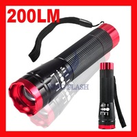 DHL Free shipping Portable 200 Lumens 18650 Torch Flash light Lamp Zoomable 3 Mode CREE LED Flashlight Zoom to adjust