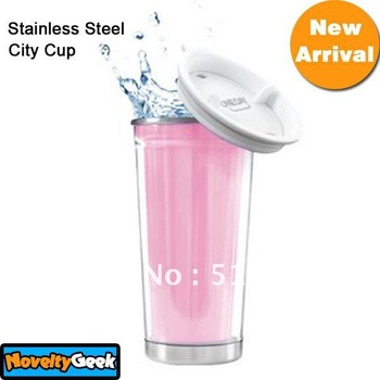 New arrival hotsale 450ml Stainless Steel City Cup Heat Double Tumbler Water Bottle Mug Free shipping