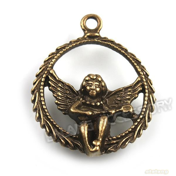 60pcs lot Zinc Alloy Cupid Pendant Plated Vintage Bronze Dangle Loose Bead Pendant Jewelry Findings 30