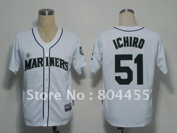 Wholesale Baseball Jersey  2012  Seattle Mariners 51 Suzuki Ichiro  White  35TH  Patch  Jerseys  size : 48-56  Free Shipping