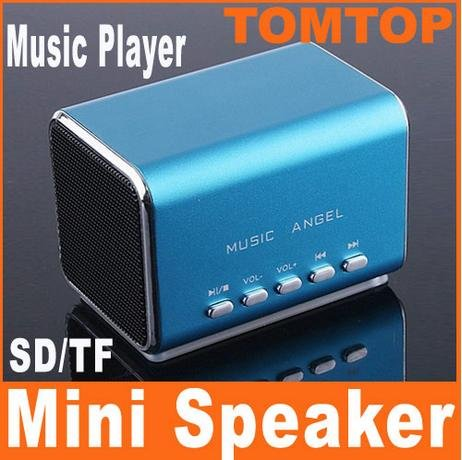 Blue Mini Speaker Micro SD/TF Music Player for Laptop iPod C1106BL Free Shipping Wholesale(China (Mainland))