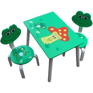 2-6Age Baby Cartoon Wood Table and Chair Set Children Desks for Kindergarden Kid Tables Frog Design(China (Mainland))