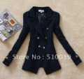 2012 NEW hot selling black/blue Double-breasted preppy style ladies silm suit,women suit ,women jacket/women fashion coat