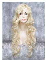 Extra Long Big Spiral Curls Curly Wavy Pale Blonde Wig TIOB 613