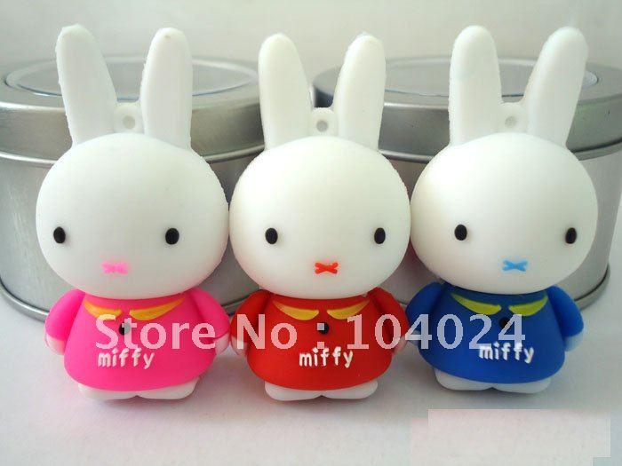 Free ship real capacity 4GB 8GB 16GB 32GB Rubber Rabbit USB 2.0 flash memory drive Pen U disk(China (Mainland))