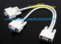 Free Shipping VGA Cables VGA SPLITTER CABLE FOR VGA VIDEO 1 PC to 2 MONITORS High quality!