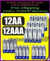 Free shipping 12 1.2v AA 2500mAh 12 AAA 1000mAh Rechargeable Recharge Ni-MH NiMH Battery