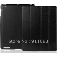 Free Shipping Black Smart Magnetic Leather Case Cover For New iPad/ iPad 3 Tablets