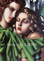 Oil Painting Reproduction,The Girls by Tamara De Lempicka ,Free DHL Ship,100% handmade (TDL018)