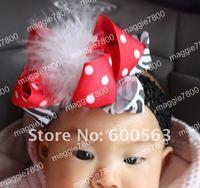 Girls' Boutique hair bow handmade ribbon feathers hairbows hairband hairclip hair clip crochet headband H04