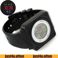 Suqare Dial Fashion 2012 Sport Watches Red Digital Display PU Band New Quartz IW2453