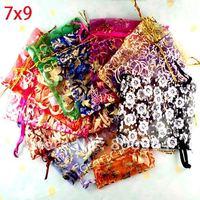 Free Shipping 100 Random Mixed Bronzing Drawable Organza Wedding Gift Bags&Pouches 7x9cm(W00459 X 1)