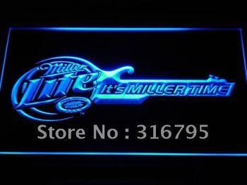 a155-b It's Miller Time Guitar Decor Bar Neon Light Sig