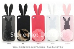 free shiping Bunny Rabit Silicone Case Skin for Iphone 4 Stand Tail Holder(China (Mainland))