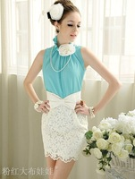 100% Positive feedback 2012 summer new loose mosaic flowers temperament lotus leaf standing collar sleeveless blouse