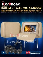 Best Selling Freeshipping 7 inch LCD Car Headrest DVD Player with Zipper - Gray,Black,Beige(Optional)