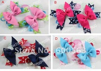 Girls' Boutique hair bow handmade ribbon feathers hairbows hairband hairclip hair clip crochet headband H24