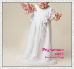 Roung neck white appliqued organza baby christening gowns(China (Mainland))