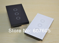 Free shipping,3Gang intelligent touch wall switches& light switches with LED indicator,US style wall switch, CE approval