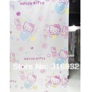 P2 Free shipping,Hello Kitty Cute Shower Curtain with Hooks, about 180cm*200cm