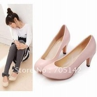 Free shipping! Fashion office lady med heel pumps, comfortable high heel leather shoes for women, E34-43, Black/grey/pink/beige