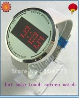 Fashionable Blue LED Digital Touchscreen Watch with steel wire